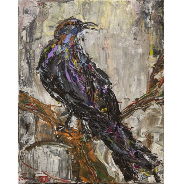 Acrylic painting on canvas with a raven
