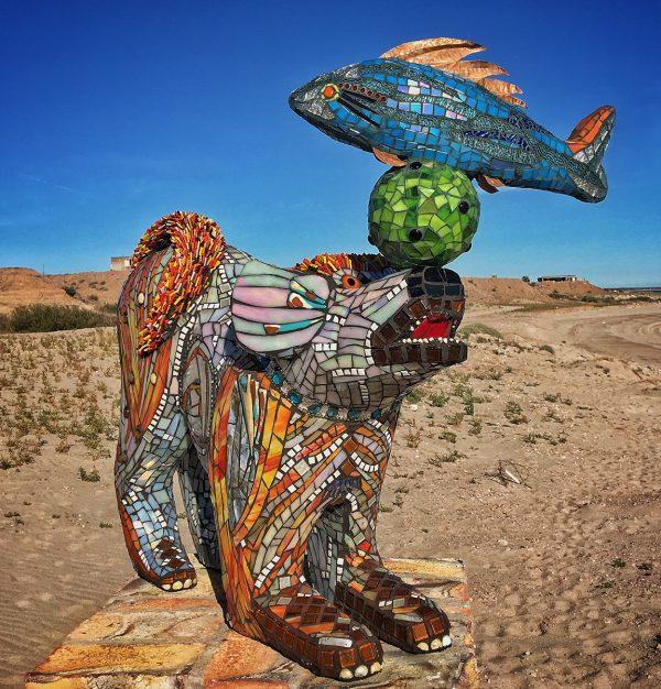 Sparky is a mosais sculpture