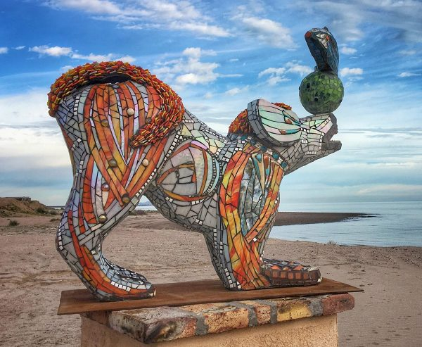 Sparky is a mosaic sculpture