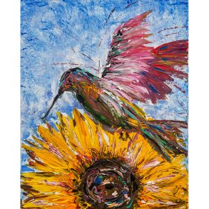sunflower with hummingbird painting
