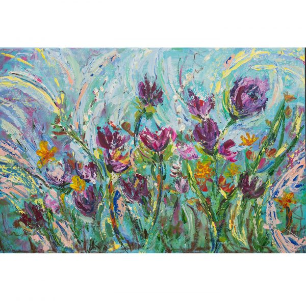 Leena Hannonen, abstract floral, painting, art, palette knife painting