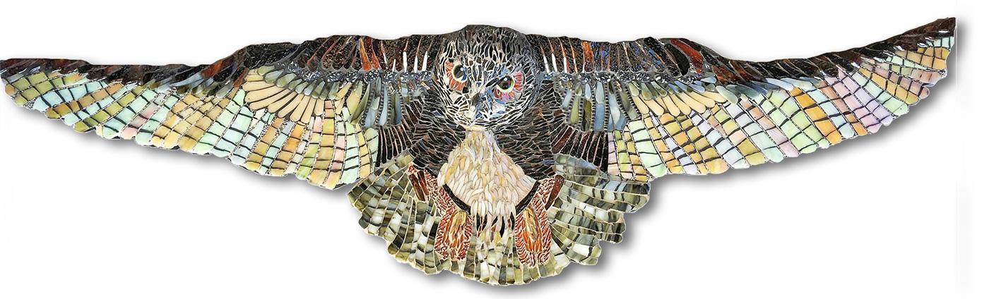 Flying owl glass mosaic