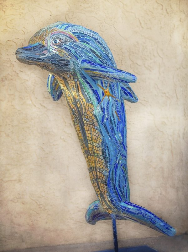 mosaic sculpture of dolphin